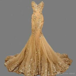 Mermaid Gold Lace Applique Formal Evening Dress Celebrity Pageant