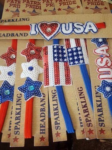 Stars i love usa Patriot Pride Sparkling Headband Mixed Lot USA Flags