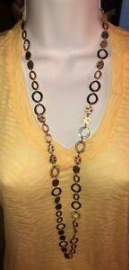 Jewelry-Necklace-Good-Condition-gold-tone-rhinestone-Premier-Designs-40-inch