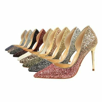 Women Vogue Sexy Pointed Toe Sequin Glitter High Heel Party Court Shoes gkee