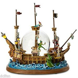 Disney-Parks-Peter-Pan-Jolly-Roger-Ship-Hook-Smee-Wendy-Musical-Snowglobe-NEW