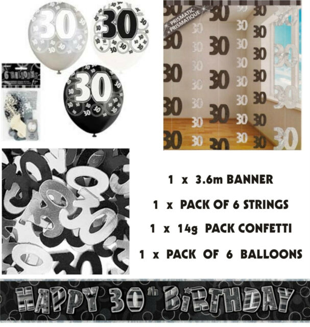 4 Pce Pack BIRTHDAY PARTY DECORATIONS  - 18th, 21st, 30th, 40th,50th,60th,70th