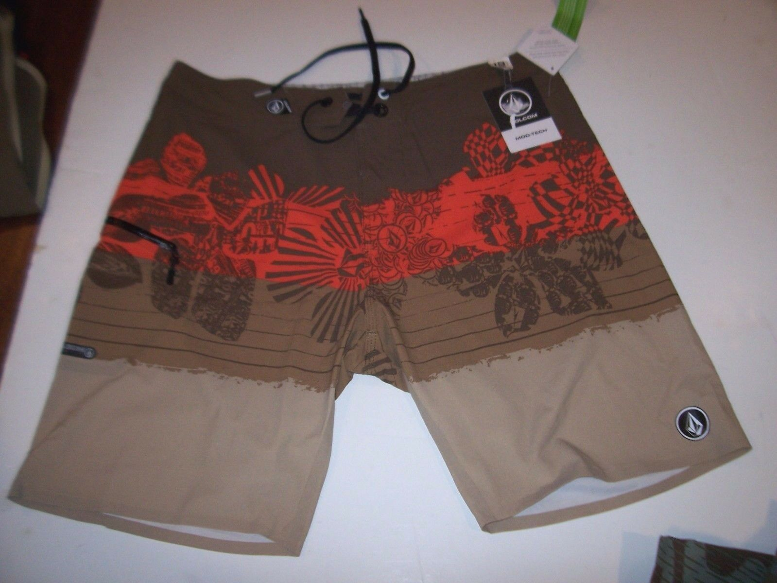 NEW VOLCOM boardshorts board shorts brown orange swimsuit swim MANO MOD sz 32 33
