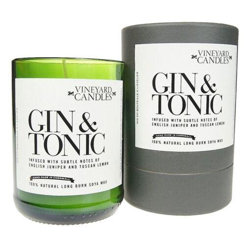 Weingarten Kerze Gin /& Tonic Parfümiert Weinflasche Natürlich Handgemacht Home