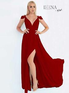 NWT-Size-12-Burgundy-RED-Mac-Duggal-55099-chiffon-long-formal-PROM-gown
