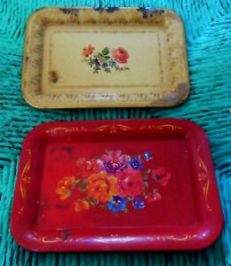 Two-Shabby-Vintage-Small-Mini-Toleware-TRAYS-Champagne-Gold-amp-Red-w-Roses-Chic