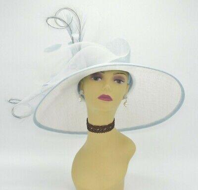 2e69da5e14 M826(White Powder Blue) Kentucky Derby Wedding Royal Ascot Sinamay Wide  Brim hat