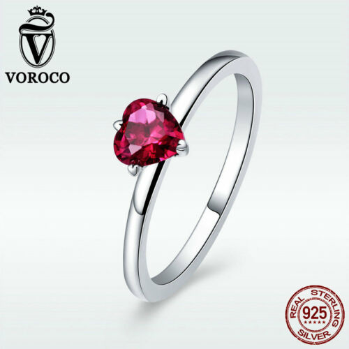 Voroco Real S925 Sterling Silver Wedding Ring Heart with Red CZ Jewelry Size 6-8