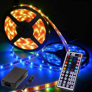 7m 8m 14m 16m 18m 20m Rgb 5050 Led Strip Light Flexible Rf Remote Porch 12v Psu Ebay