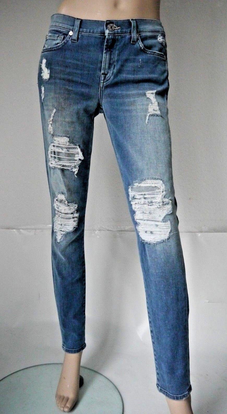 7 for all MANKIND Jeans NEU Skinny Destroyed W28 L30  Blau Baumwolle Elasthan