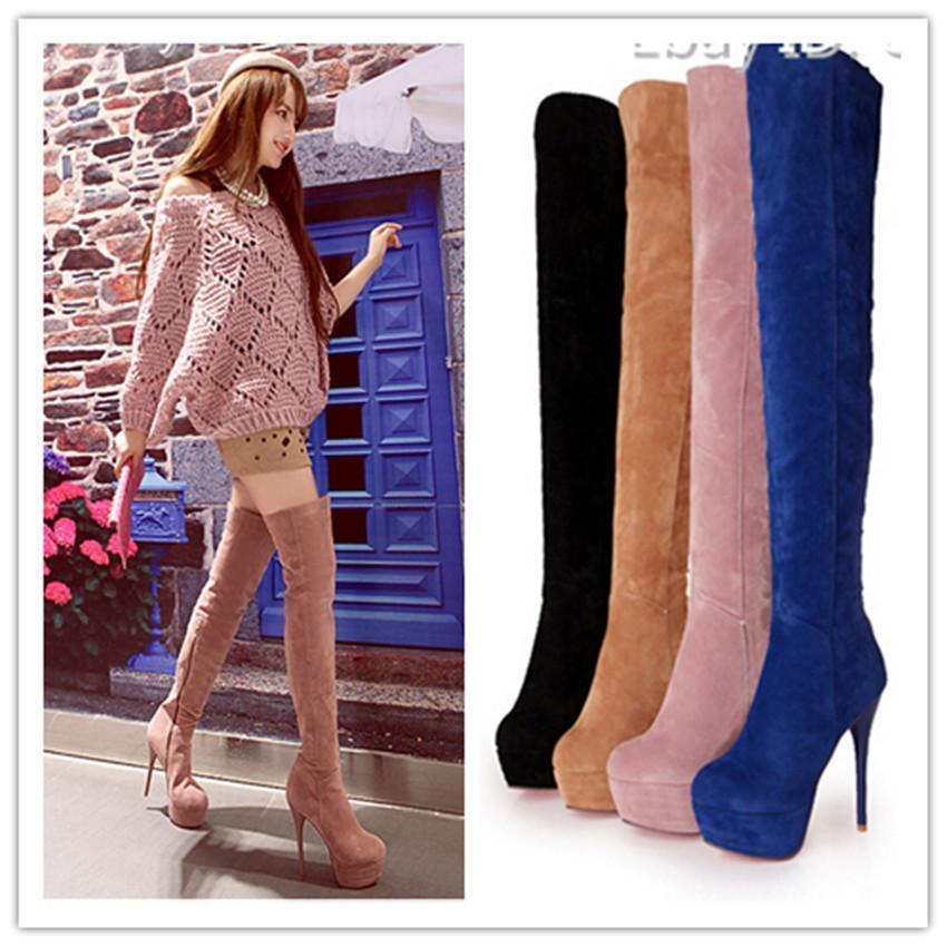 Gr34-43 Damen Clubwear Overkneestiefel Stiletto heel Wedge Rund Nubukledstiefel