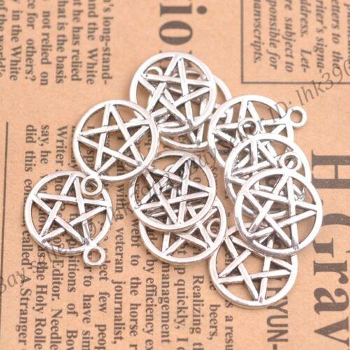 Wholesale 10Pcs Tibetan Silver cinq points Ed Star Charms Bijoux 20X16MM Z373