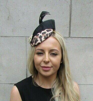 Black Gold Feather Leopard Animal Print Hat Fascinator Races Wedding Hair 6416