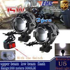 2X 125W Motorcycle CREE U5 LED Driving Headlight Fog Spot Light For BMW+ Switch