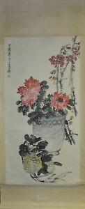 Vintage-Chinese-Watercolor-FLOWER-AND-FRUIT-Wall-Hanging-Scroll-Painting