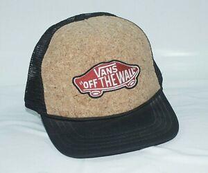 Details about Vans Off The Wall Cork Front Black Mesh Adjustable Snapback Trucker Hat Cap