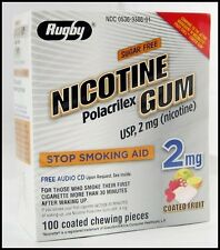 Rugby Nicotine Gum 2mg Coated FRUIT GREAT TASTE!  100 pieces