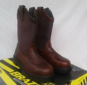 New Men S Brazos Ironmite Ll Steel Toe Wellington Work Boots Brown Ebay