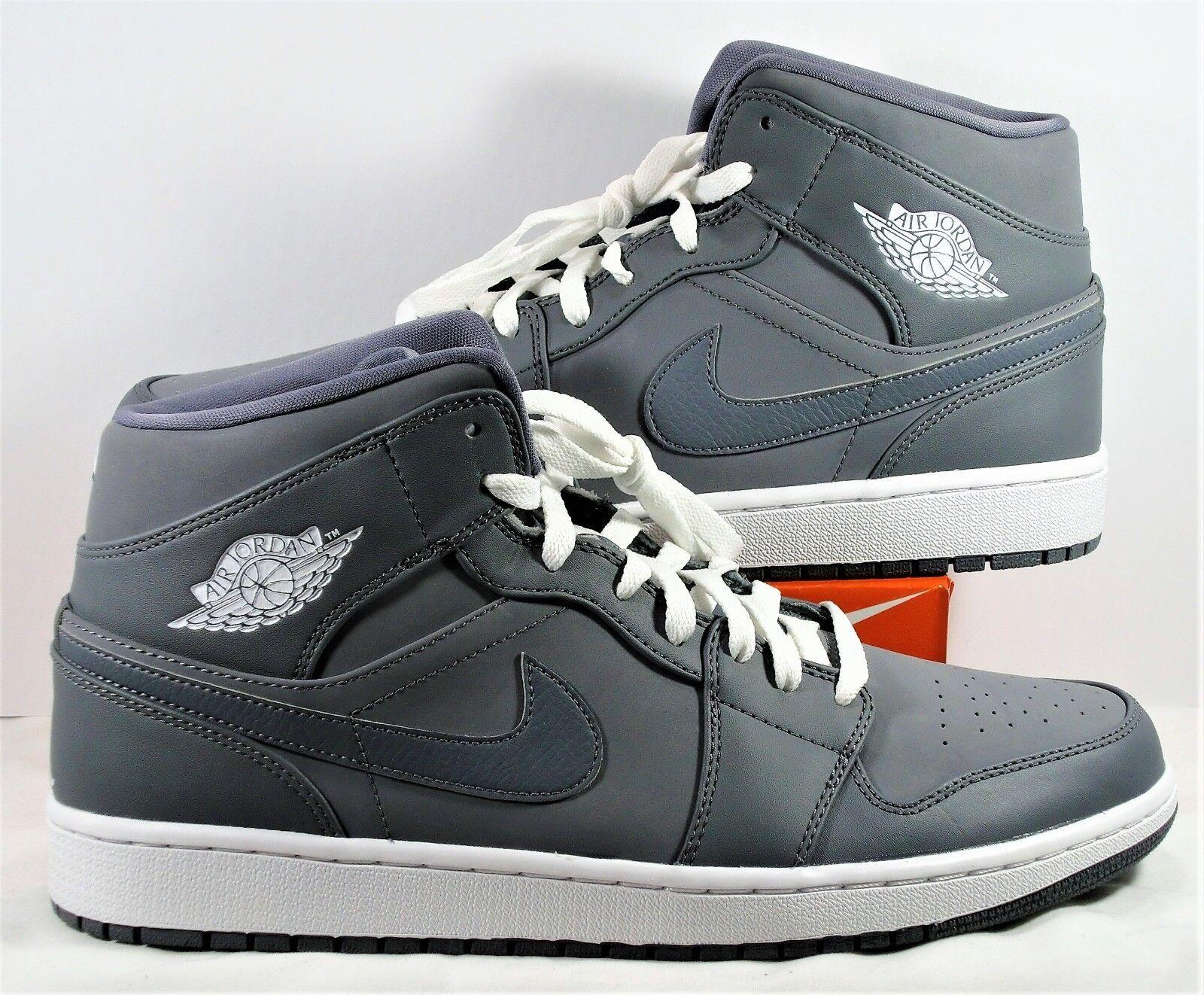 Air Jordan 1 Retro Mid Basketball Shoes Cool Grey & 13 White Sz 13 & NEW 554724 033 2bb7b9