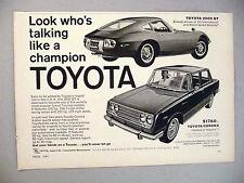 Toyota 2000 GT and Corona PRINT AD - 1967