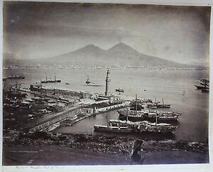 Italia Napoli E Vesuvio Foto Amodio Albumina Vintage, Ca 1875