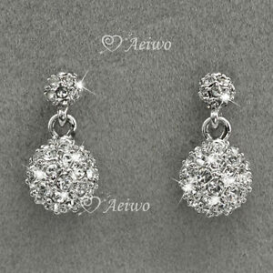 NEW-DROP-EARRINGS-9K-GF-9CT-WHITE-GOLD-CLEAR-MADE-WITHSWAROVSKI-CRYSTAL-BALL