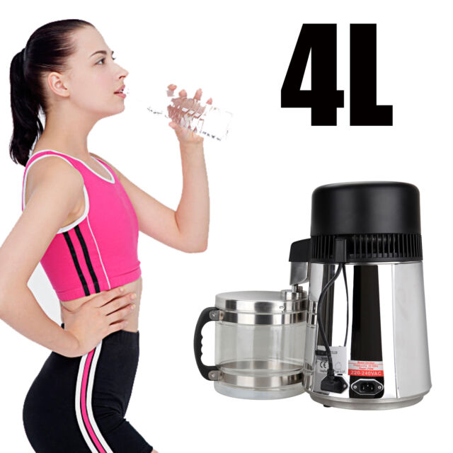4L 750W Pure Water Distiller Stainless Steel With Free Glass Jar Bottle Healthy