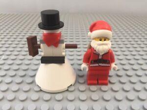 Lego-Pere-noel-amp-Bonhomme-De-Neige-version-Sack-Santa-de-Noel-avec-neige