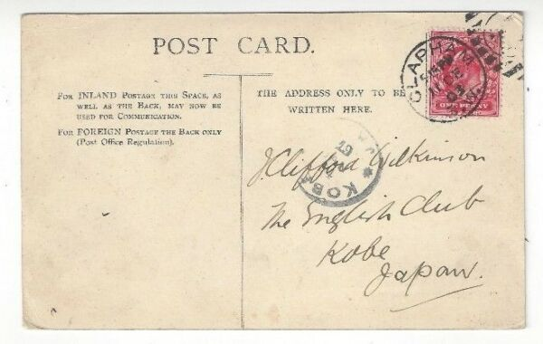 1903 Clapham Great Britain, Ppc To Kobe Japan Scarce Destination