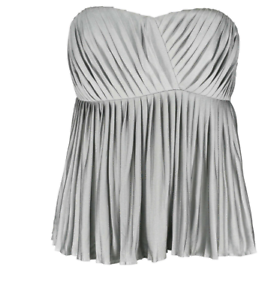 PHILLIP-LIM-3-1-PLEATED-GRAY-SILK-BUSTIER-TOP-BLOUSE-SLEEVELESS-SIZE-SMALL