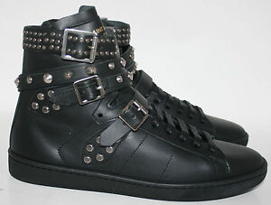9b066ef8a1 Details about $995 NIB YSL YVES SAINT LAURENT WOLLY HIGH TOP LEATHER  STUDDED TRAINERS SNEAKERS