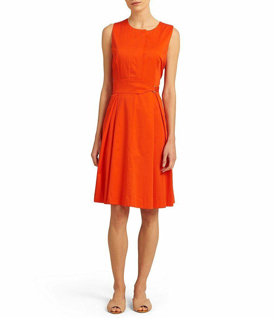 damen Karan Bright Orange Belted Waist InGrüned Pleat Dress NWT 6