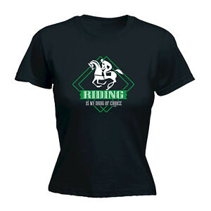 Funny-Novelty-Tops-T-Shirt-Womens-tee-TShirt-Horse-Riding-Is-My-Drug-Of-Choice