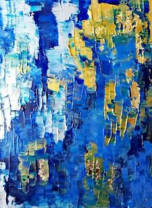 Abstract-acrylic-original-painting-gold-leaf-art-on-canvas-12x16-inches
