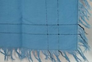 Vintage-Blue-Linen-Fringed-Table-Runner-Tea-Towel-Cloth