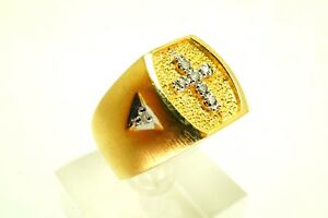 446b1f8829cbb Details about Men's Gold Over Sterling Silver Textured Diamond Cross Ring  Size 9.25