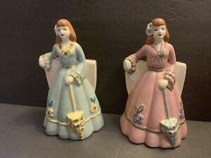 Vintage-Pair-Ladies-With-Umbrellas-in-Green-Pink-Dresses-Ceramic-Planter-Vase