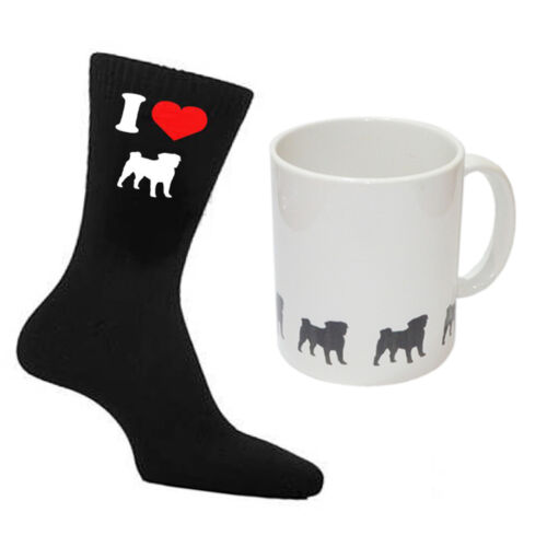 I Love Pug Uomo Nero CALZINI /& Pug immagini TAZZA bianco perfetto regalo da uomo
