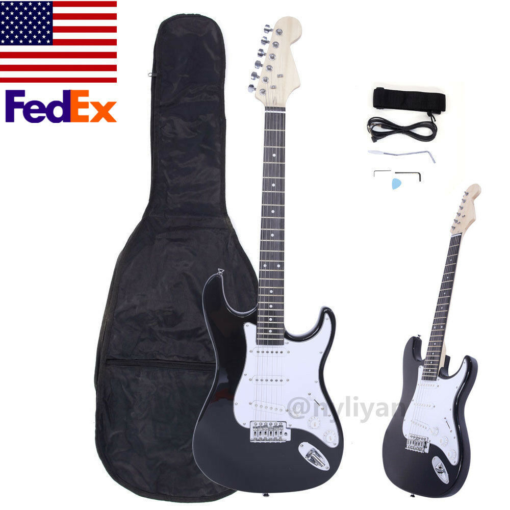 6 STRINGS Rosewood Fingerboard Electric Guitar Monochrome Gift with Gigbag US