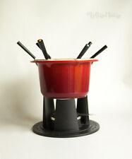 Vintage Boxed Le Creuset Cherry Red Cast Iron Enamel Fondue Set - FREE UK P&P