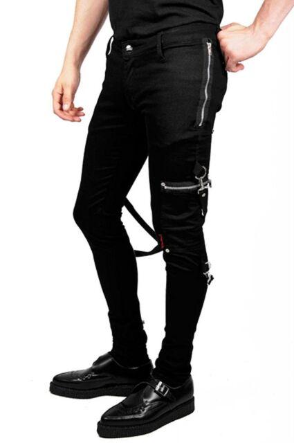 TRIPP NYC GOTHIC CHAOS TIGHT BLACK TIGHT PUNK ROCKER EMO JEANS PANTS IS6037M