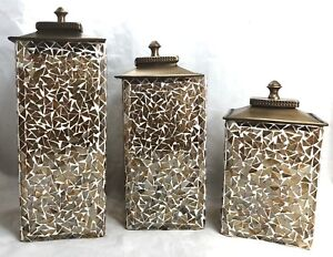 Glass-Mosaic-Canisters-Gold-Home-Decor-Candle-Holders-Square-3-Pieces-w-Covers