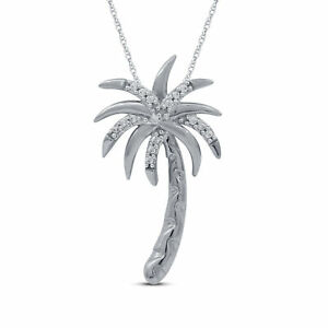 Large sterling silver Palm Tree Necklace