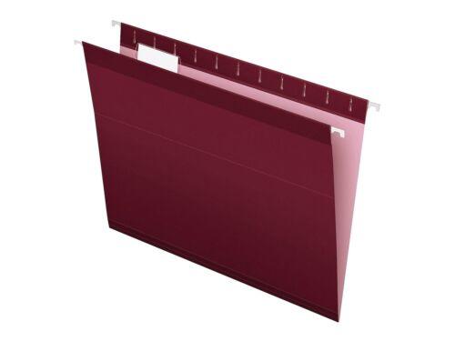 Pendaflex Reinforced Hanging File Folders 1//5 Tab Letter Size Burgundy 765578