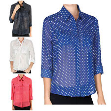 NE PEOPLE Women/'s Light Weight Long Sleeve Polka Dot Chiffon Blouse NEWT138