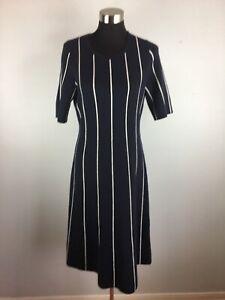 Ann-Taylor-Womens-Sweater-Dress-L-Large-Blue-White-Stripe-Merino-Wool-Blend