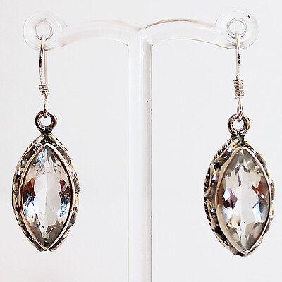 925 Sterling Silver Semi-Precious Clear Quartz Natural Stone Earrings