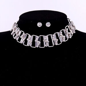 Summer Alloy Silver Rhinestone Crystal Choker Chunky Necklace Pendant Earrings