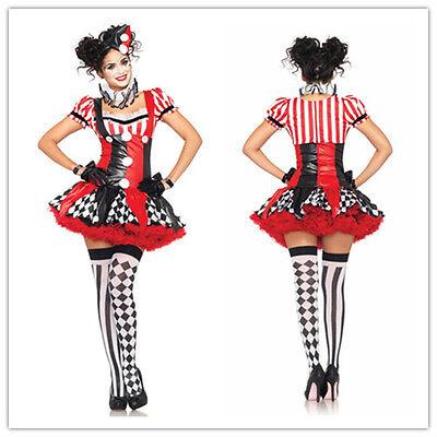 Sexy Red Clown Circus Costume Mini Halloween Adult Funny Dress TUTU Suit
