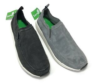 Sanuk-Chiba-Quest-Sidewalk-Surfer-Canvas-Shoe-Loafer-Slip-On-Unisex-Gray-Black